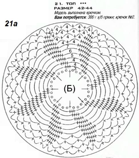 Вязанный крючком топ схема