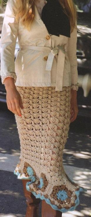 Схема длинной юбки крючком