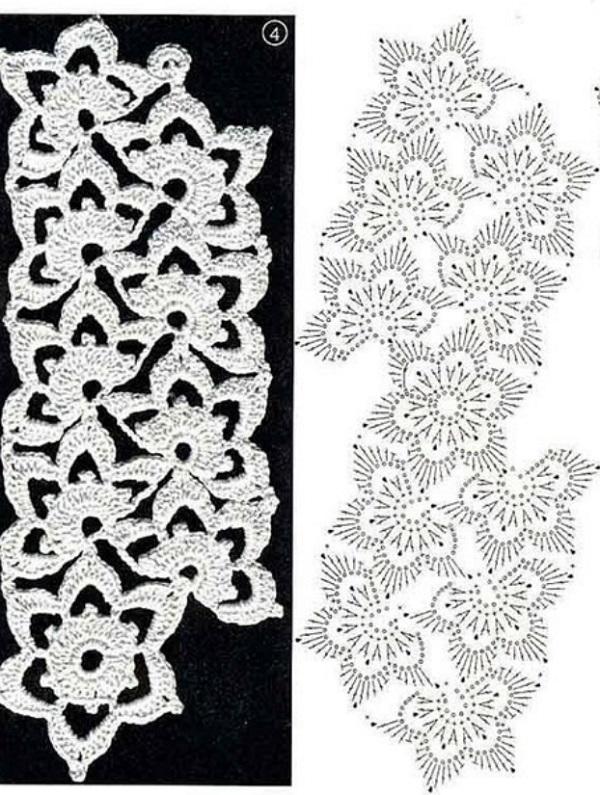 схемы вязания ленточного кружева крючком