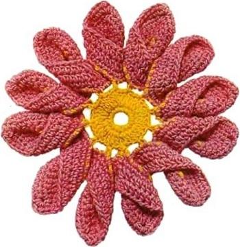Пряжи схема вязания цветка крючком
