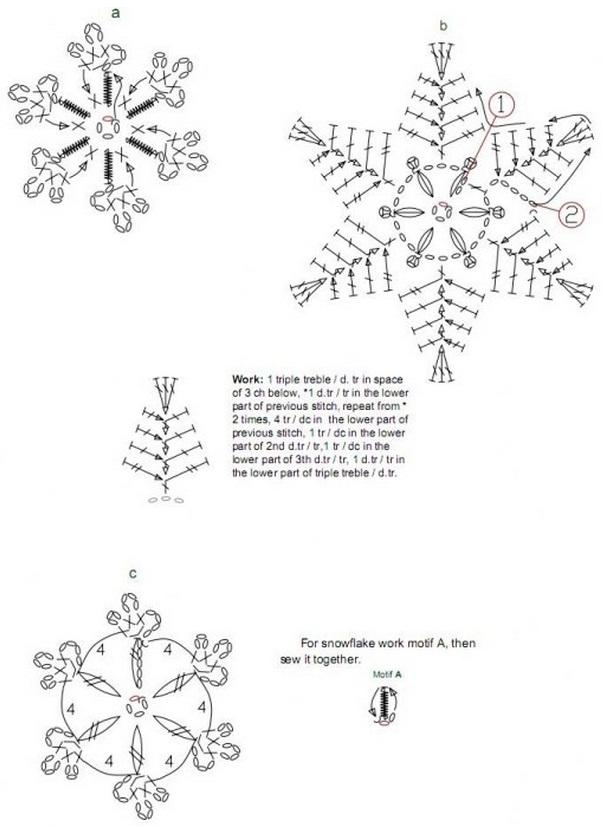 Схемы вязания снежинок крючком