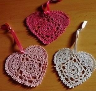 Вязание сердечек крючком