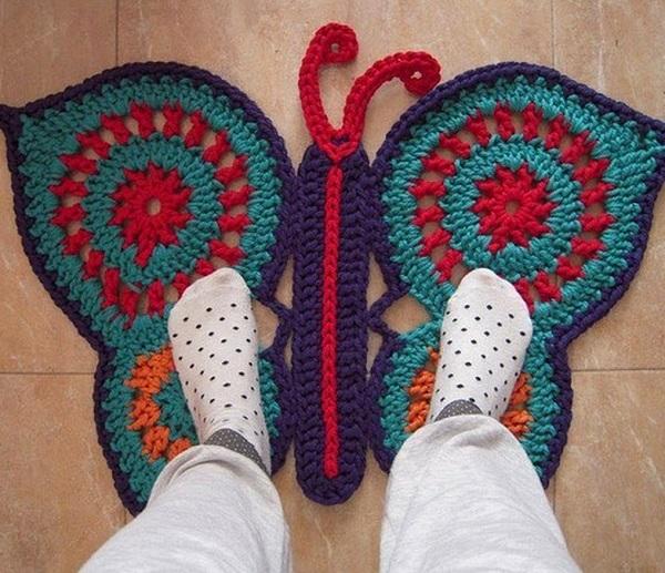Коврик-бабочка крючком