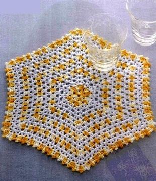Шестиугольная салфетка крючком