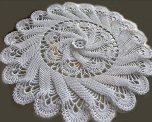 Спиральная салфетка крючком