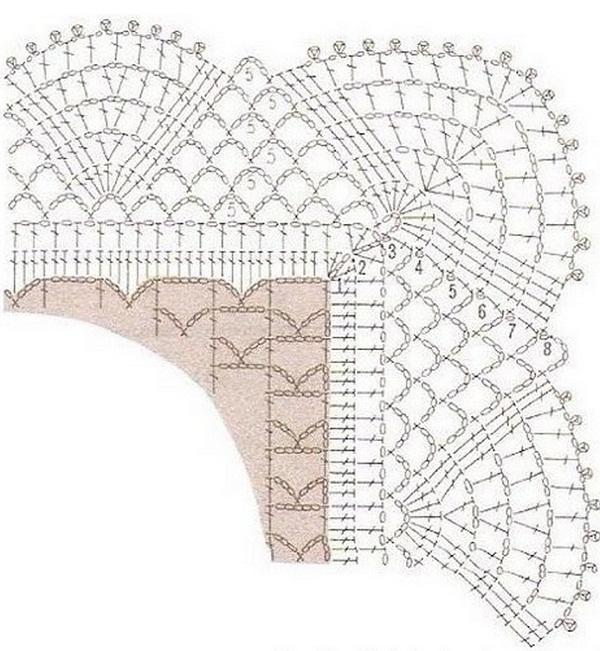 Прямоугольная салфетка связана крючком 94