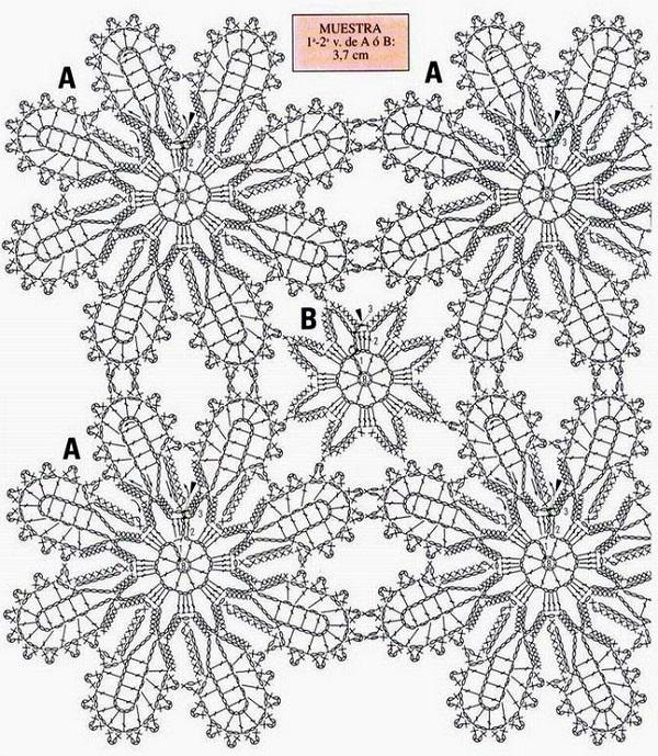 Схема вязания скатерти крючком