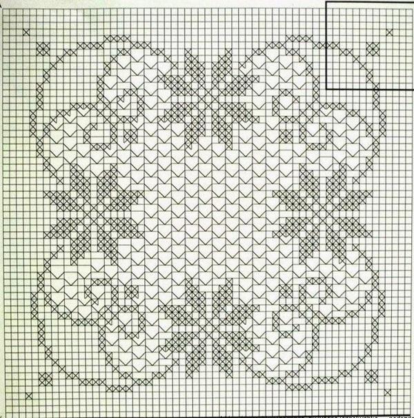 Филейное вязание салфетки скатерти схемы 33