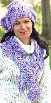 Вязаный комплект - берет и шарф