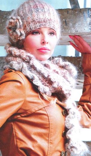 Берет и шарф связаны спицами