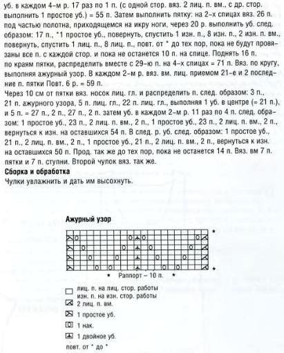 Схема вязания чулков