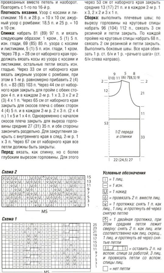 Описание для размеров с 42 по 50.  Схема вязания безрукавки спицами.