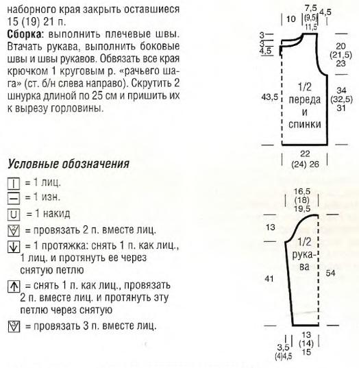 Ажурная летняя кофточка спицами для девочки на 5-6 лет, рост 122 см.