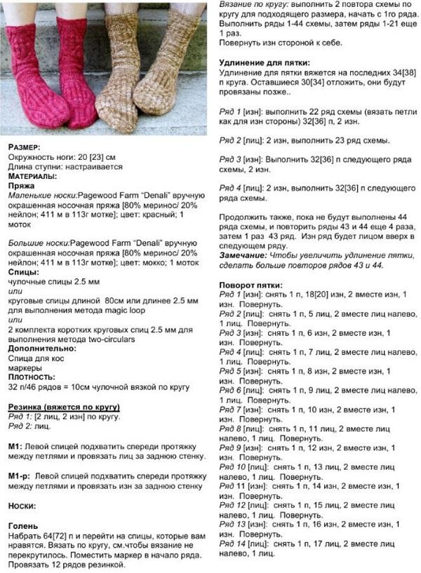 Вязание детского носка на 2 спицах 96