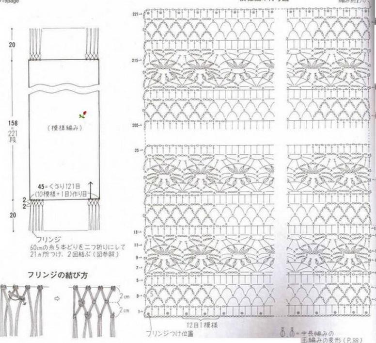 схема вязания прямоугольной ажурного палантина спицами