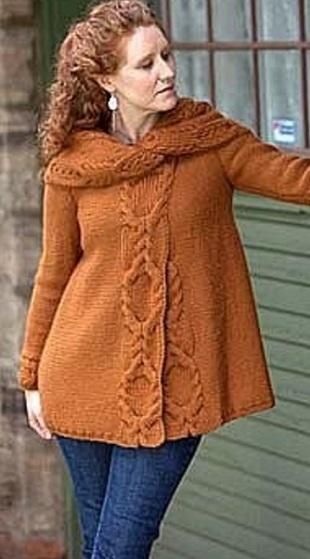 Свободное пальто спицами