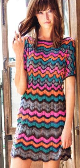 Платье с узором зиг-зак