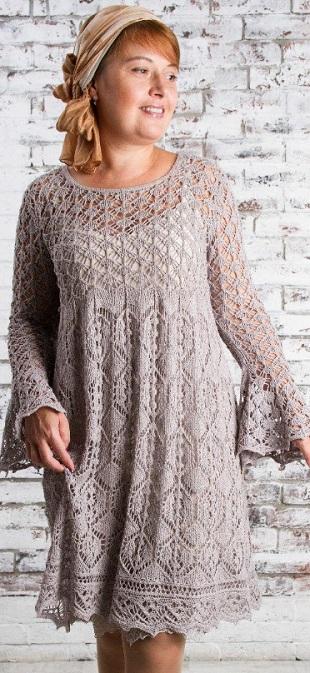 Узоры для вязания ажурного платья спицами
