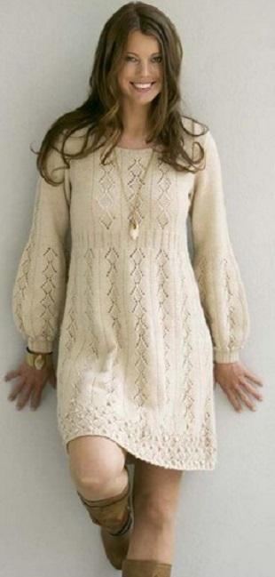 Вязание красивого платья спицами