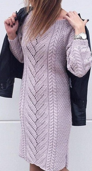 Платье спицами 2018