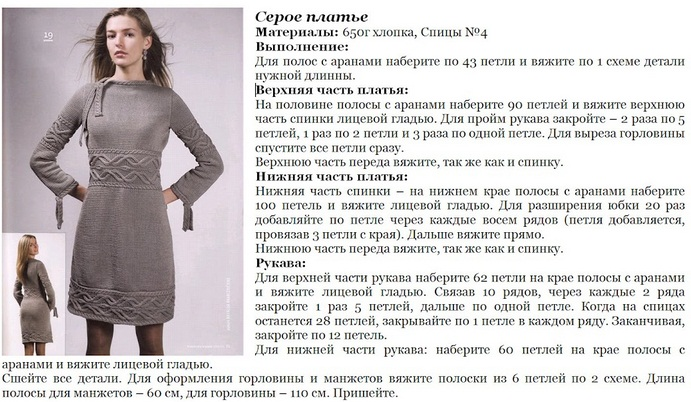 Схемы и зимних вязаных платьев