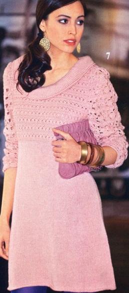Вязанное теплое платье на спицах схемы.