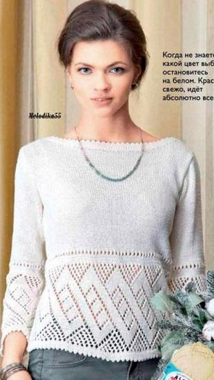 Вязание белого пуловера