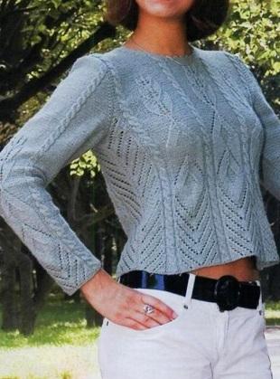 Вязание короткого пуловера спицами
