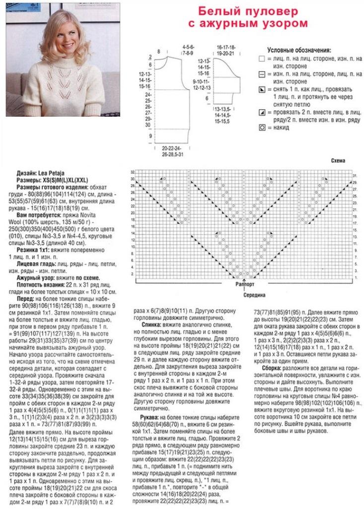 Пуловер с ажурной кокеткой спицами схема и описание