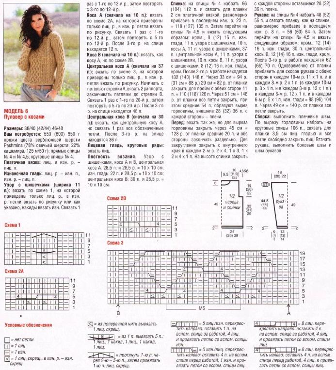 Схема вязания джемпера спицами для девушки 150