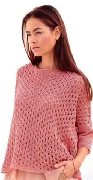 Пуловер-сетка спицами