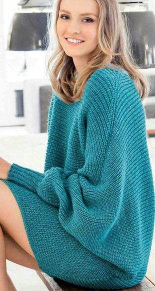 Пуловер-кимоно спицами