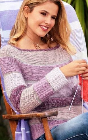 Пуловер с поперечным узором спицами