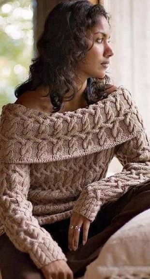 Узорчатый пуловер спицами