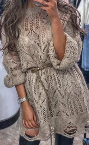 Схемы для вязания ажурного пуловера спицами