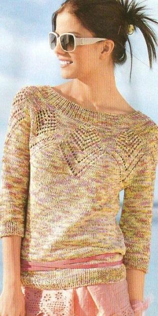 Пуловер спицами 2021