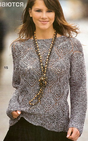 Пуловер связан спицами 4. Пуловер.  Yaromila Volkova.  Схема вязания пуловера спицами.