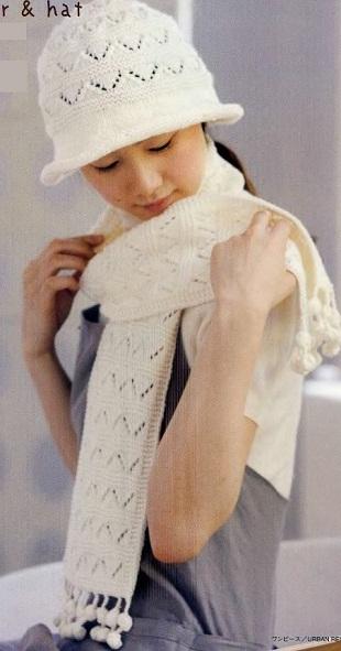 Вязание шляпки и шарфа спицами