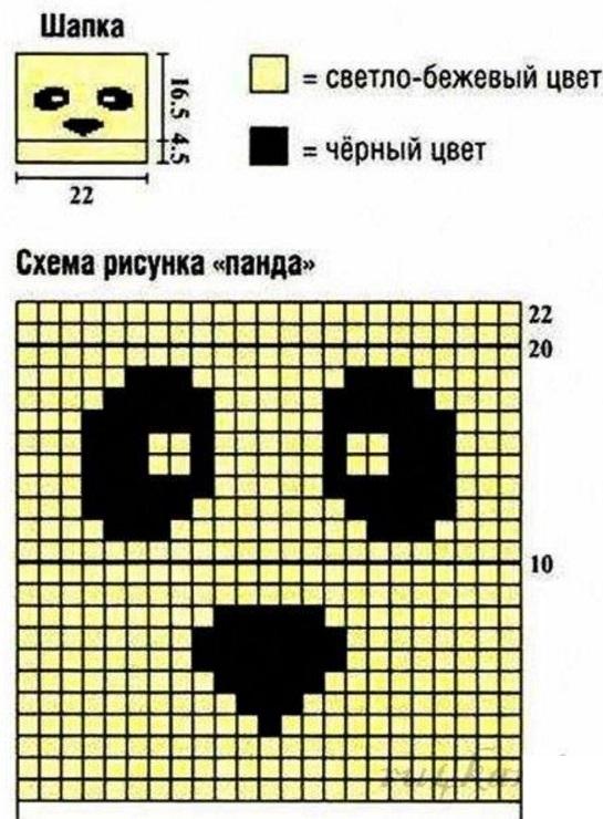 Схема панды в вязании 467
