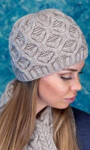 Узор для шарфа и шапки спицами