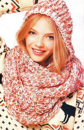 Как связать шарф-капюшон спицами