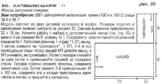 ...561/2012 г. Капюшон - шарф связан спицами 6 и 7 из 600 г фантазийной...
