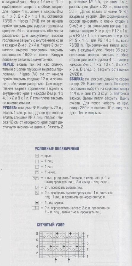 Туника связана спицами 4.5,6 и 7.Вязанная туника схема.