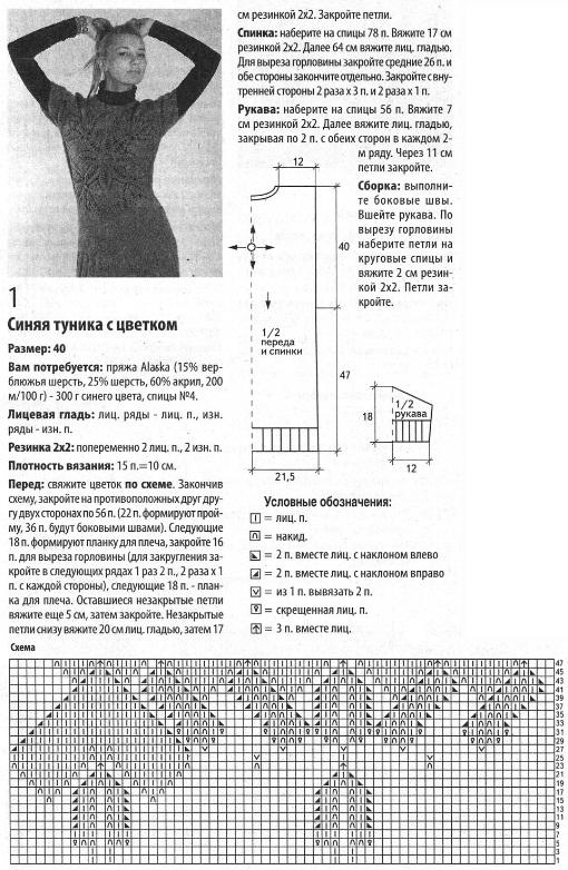 Схемы вязания спицами для зимы туник