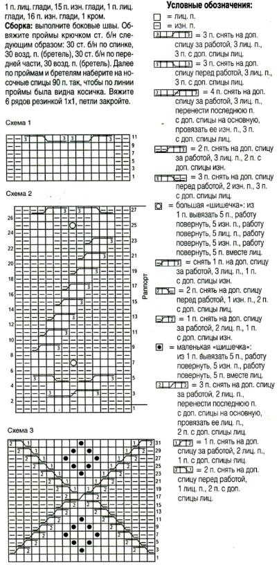 Схема вязания туники зима спицами