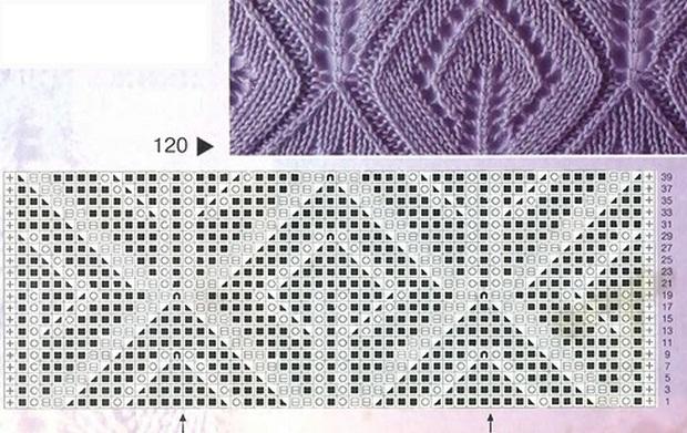 """Схемы узоров взяты из журнала  """"Образцы узоров """" 2002 г. Эти узоры отлично смотрятся при вязании шарфов и жакетов."""