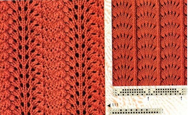 Схемы ажурных волнистых узоров