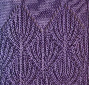 Патентные узоры связаны спицами 3 из пряжи 100% хлопок.  Схемы вязания патентных узоров.  Расшивровка схем вязания.