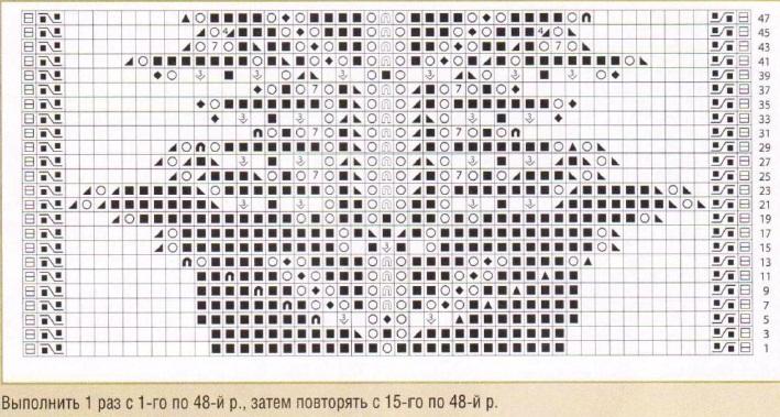 схема Ажурные узоры с листьями.