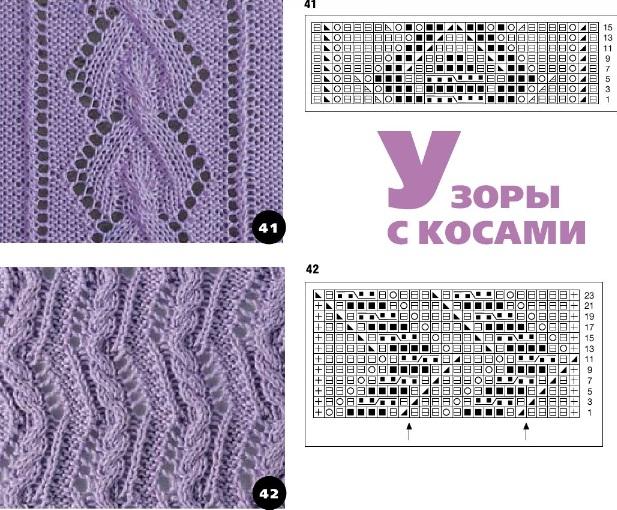 Схемы вязания ажурных полос
